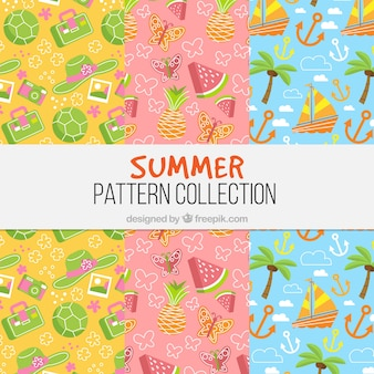 Pack of three colored summer patterns