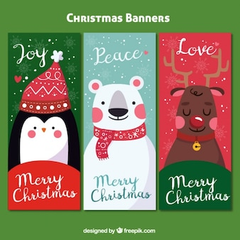 Pack of three colorful banners with christmas characters