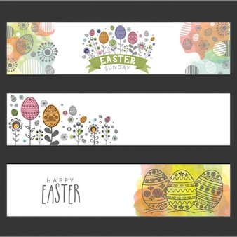 Pack of three colorful easter banners