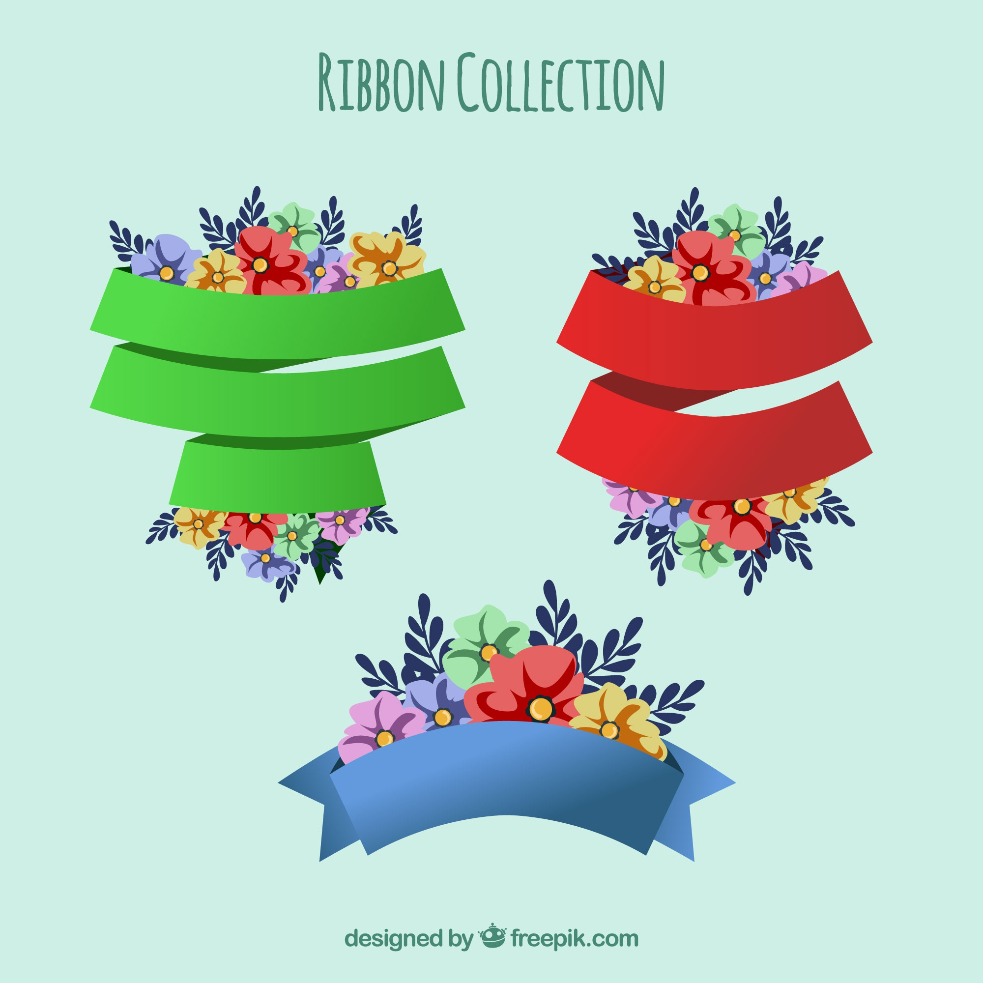 Pack of three colorful ribbons with flowers