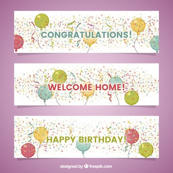 Pack of three decorative banners with colorful confetti