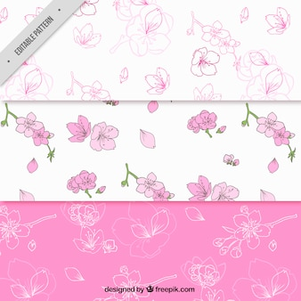 Pack of three decorative cherry blossom patterns
