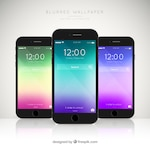 Pack of three mobiles with elegant colored wallpapers