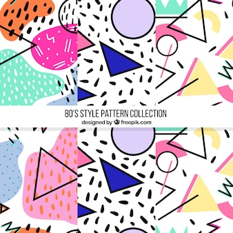 Pack of three modern patterns with colorful shapes