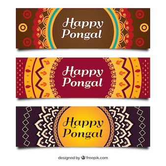 Pack of three pongal banners with geometric shapes
