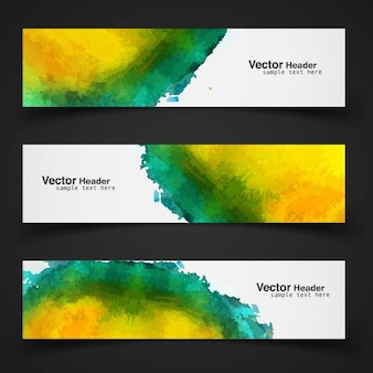 Pack of three watercolor banners