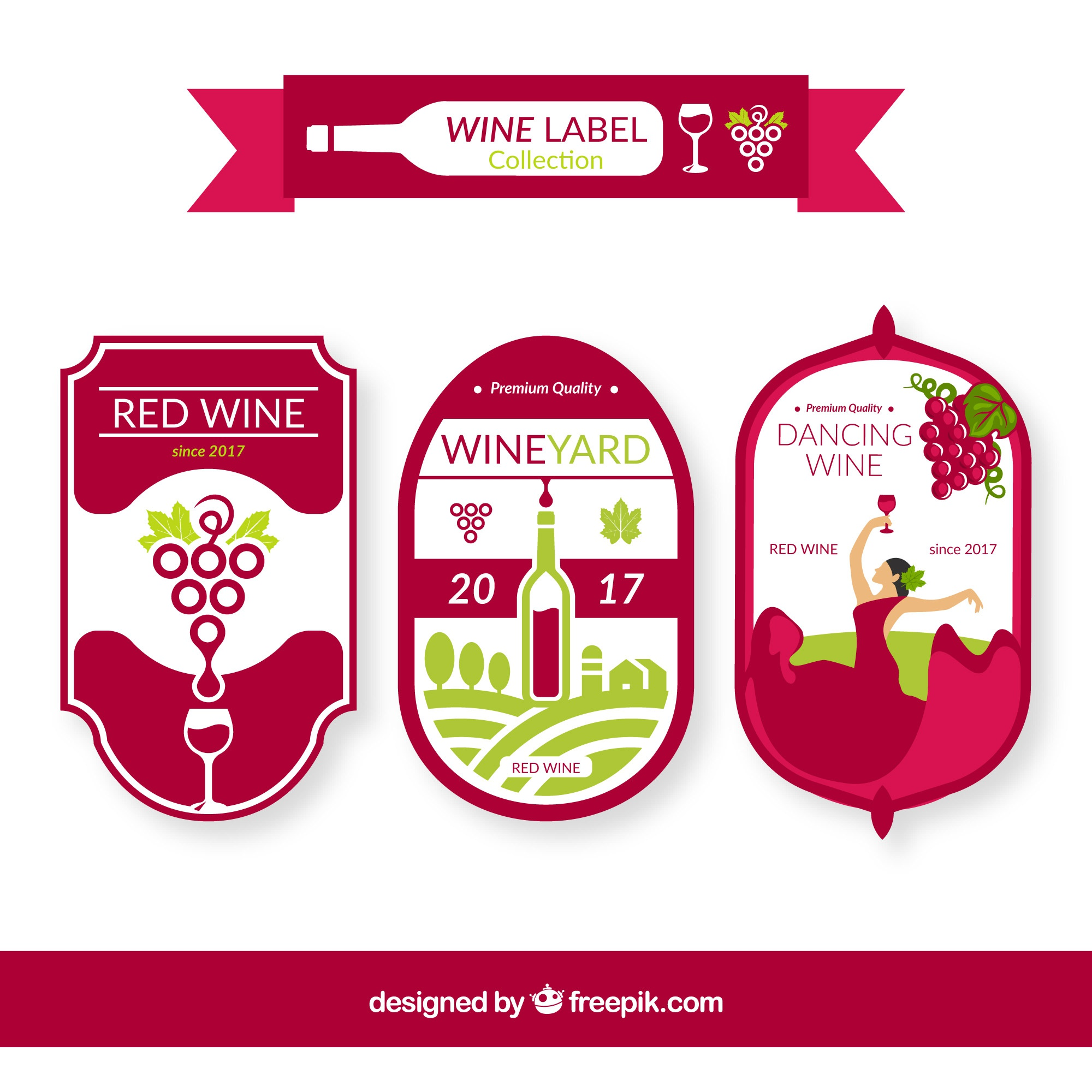 Pack of three wine labels with green details