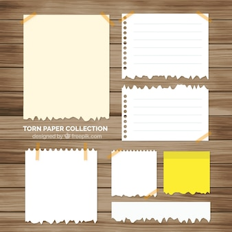 Pack of torn notepad sheets