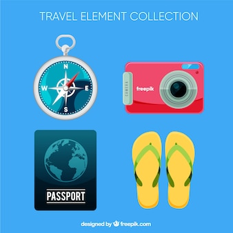 Pack of travel elements in flat design