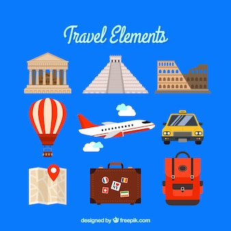 Pack of travel elements with monuments and transport