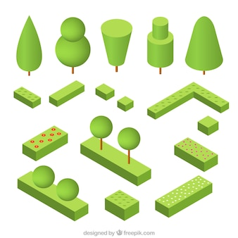Pack of trees and shrubs in isometric design