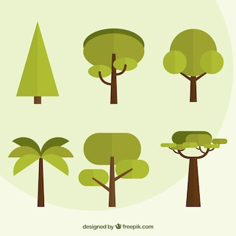 Pack of trees in flat design