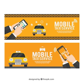 Pack of two taxi service banners