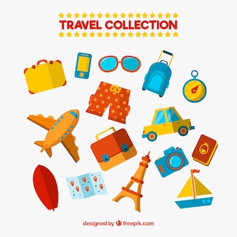Pack of typical summer travel elements