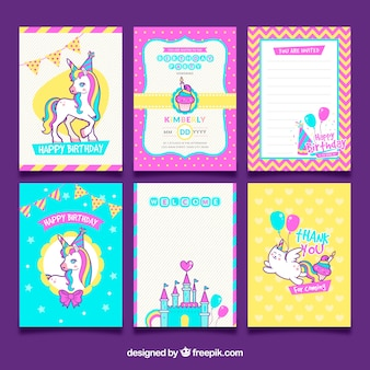 Pack of unicorn birthday cards
