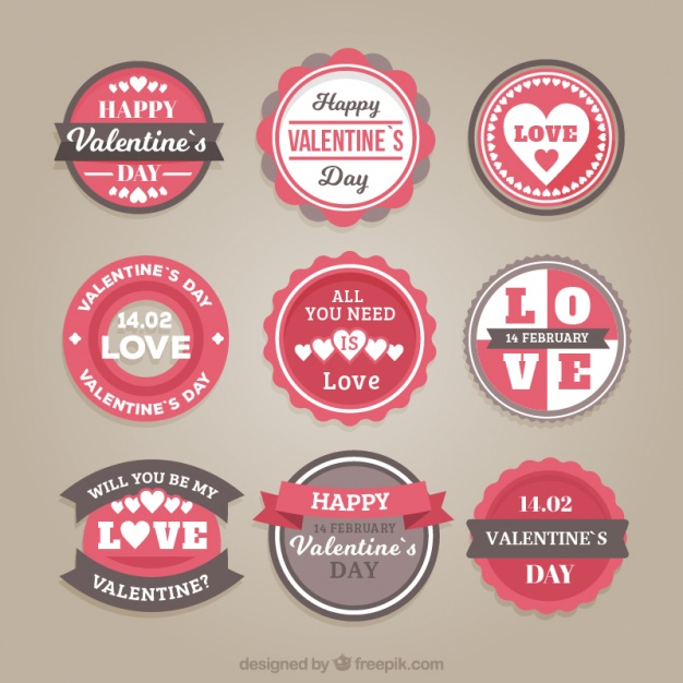 Pack of valentine round stickers in vintage style