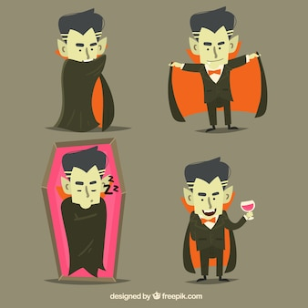 Pack of vampire characters in flat design
