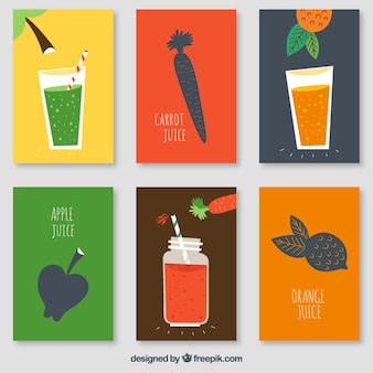 Pack of vegetables and fruit juices cards
