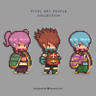 Pack of video game characters in pixel art style