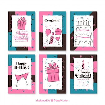 Pack of vintage birthday cards in vintage style