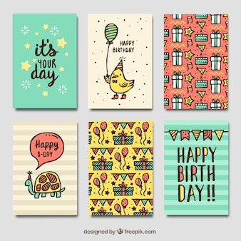 Pack of vintage birthday cards with drawings