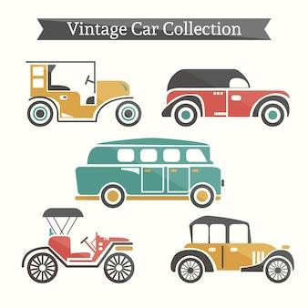 Pack of vintage cars and caravan in flat design