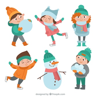 Pack of vintage children with snow