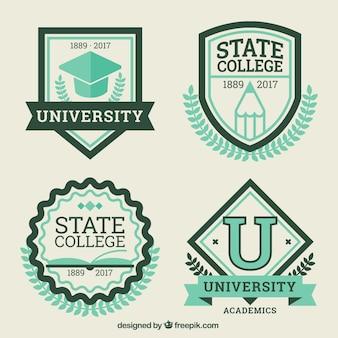 Pack of vintage college badges