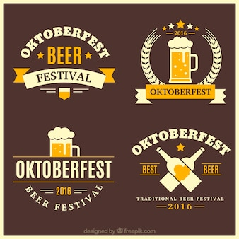 Pack of vintage decorative oktoberfest badges