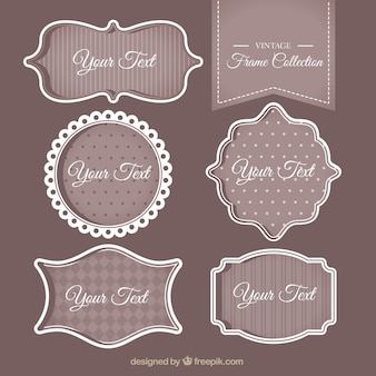 Pack of vintage decorative text frames