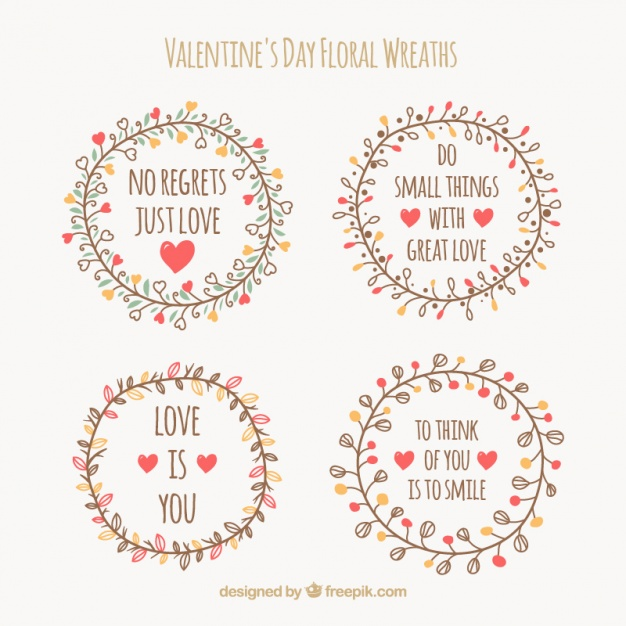 Pack of vintage floral wreaths with love messages