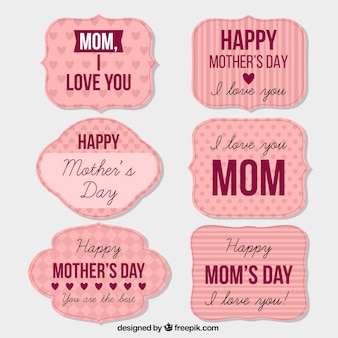 Pack of vintage mother day stickers with messages