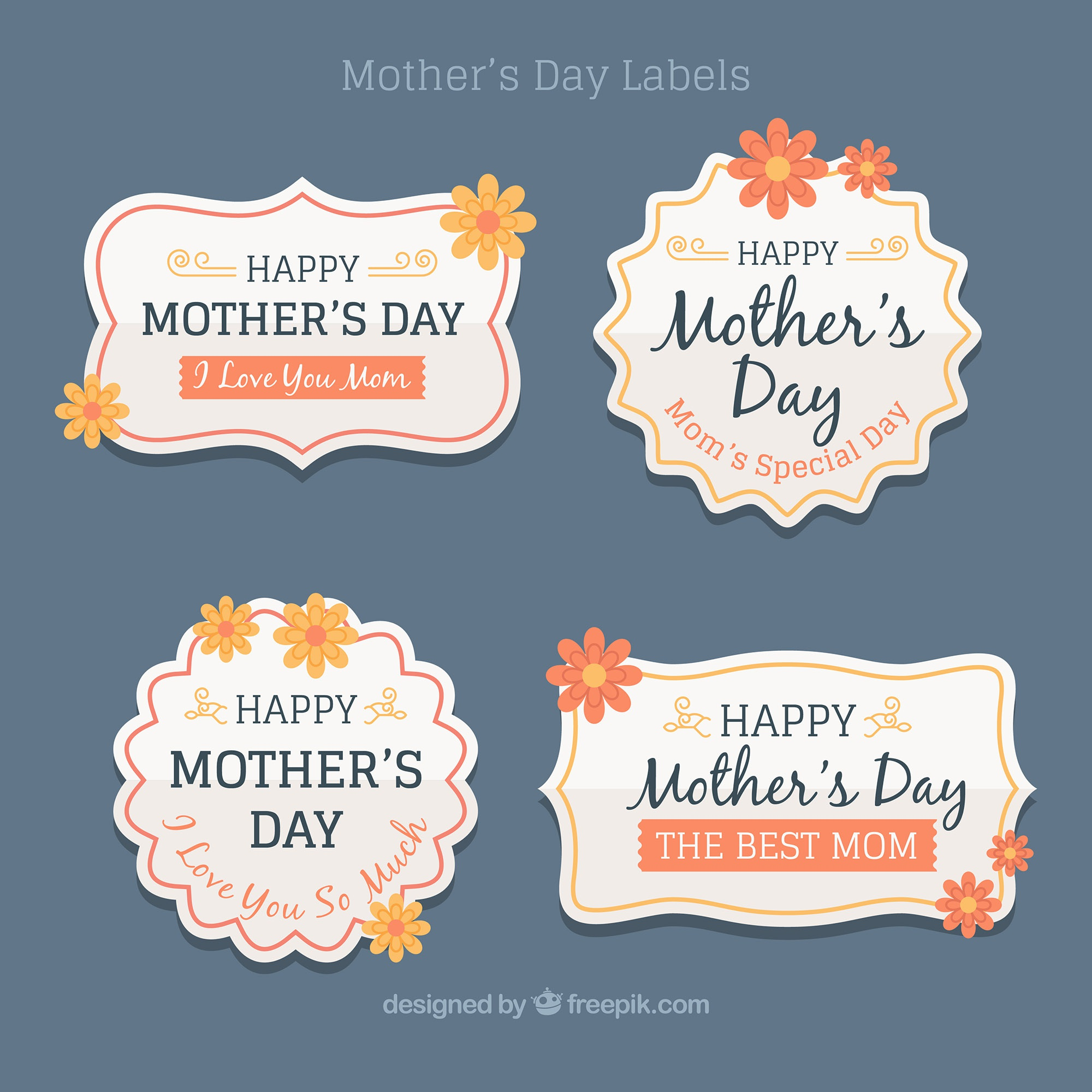 Pack of vintage mother day stickers