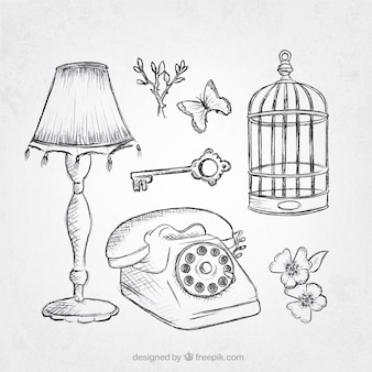 Pack of vintage objects sketches