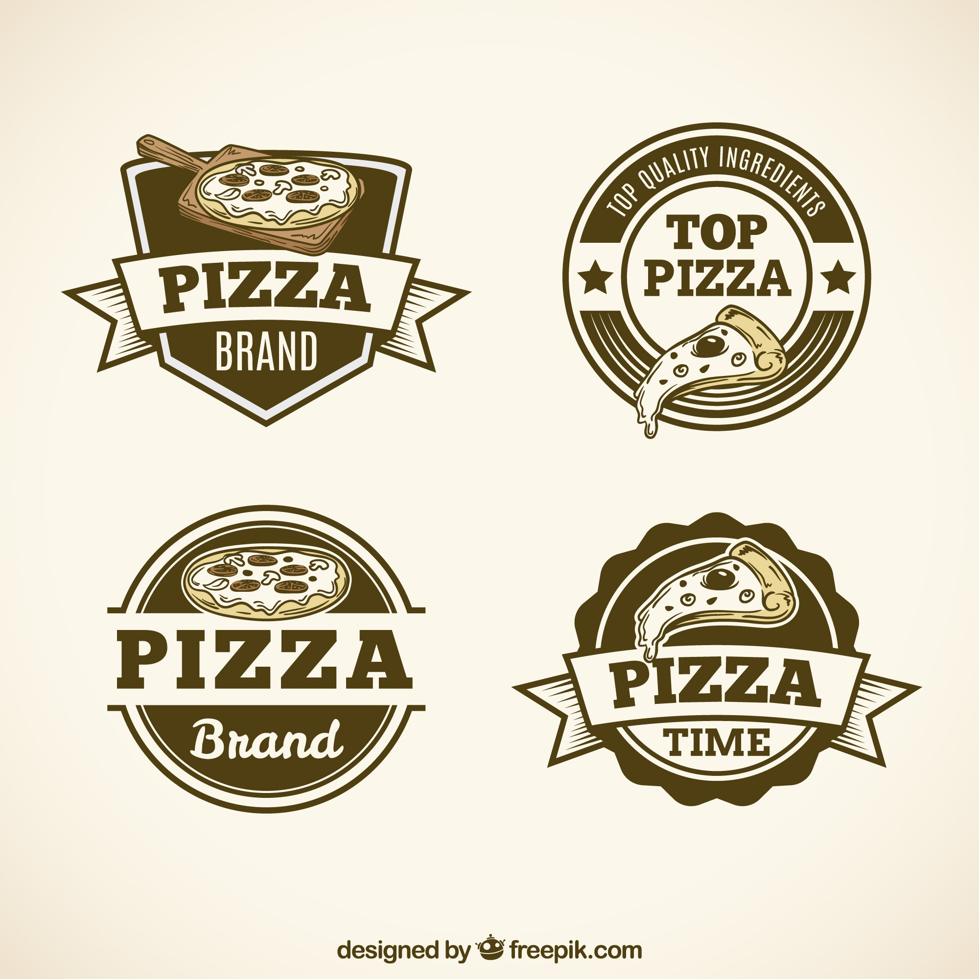 Pack of vintage pizza logos