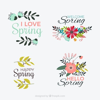 Pack of vintage spring stickers