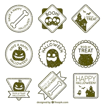 Pack of vintage stickers for halloween