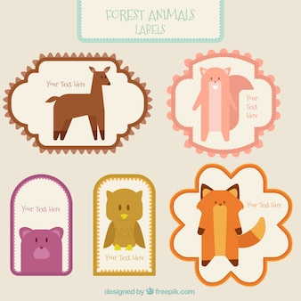 Pack of vintage stickers with lovely forest animals