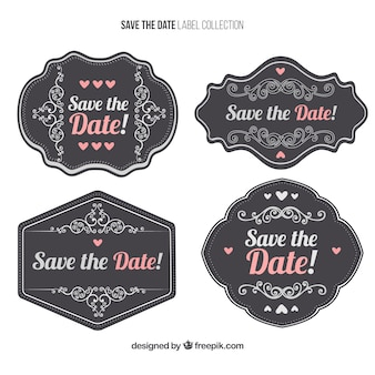Pack of vintage wedding decorative stickers