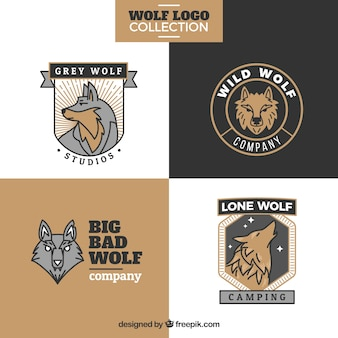 Pack of vintage wolves logos