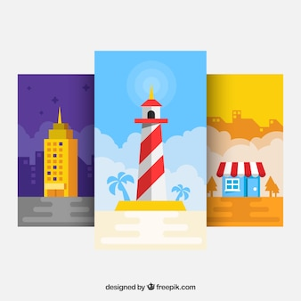 Pack of wallpapers with lighthouse and other elements