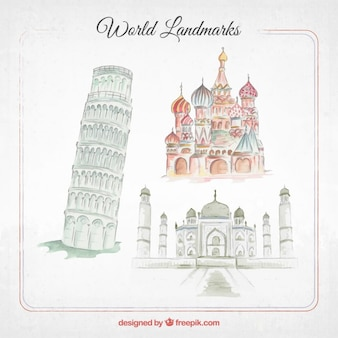 Pack of watercolor beautiful monuments