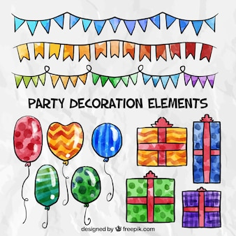 Pack of watercolor birthday elements decoration