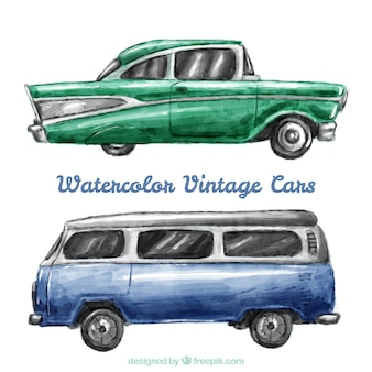 pack of watercolor car and caravan