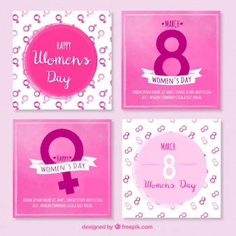 Pack of watercolor cards for women's day