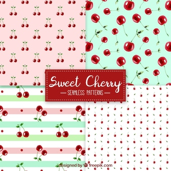 Pack of watercolor cherry patterns