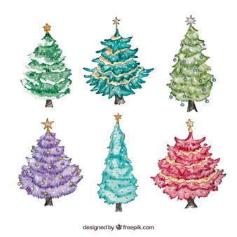 Pack of watercolor christmas trees