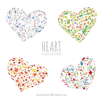 Pack of watercolor floral hearts