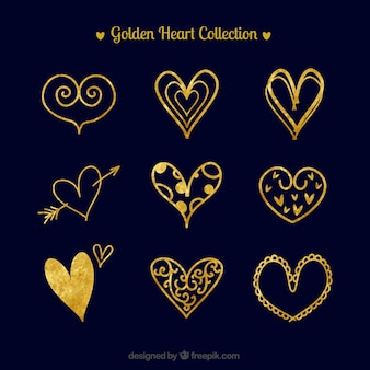 Pack of watercolor golden hearts