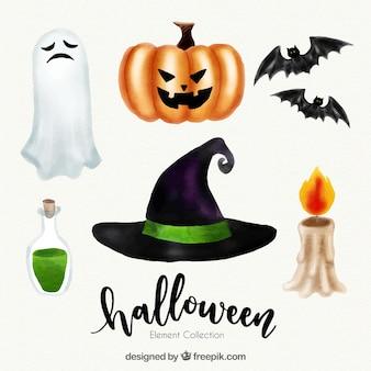 Pack of watercolor halloween elements